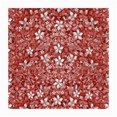 Flowers Pattern Collage in Coral an White Colors Glasses Cloth (Medium, Two Sided)