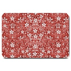 Flowers Pattern Collage in Coral an White Colors Large Door Mat