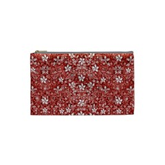 Flowers Pattern Collage In Coral An White Colors Cosmetic Bag (small)