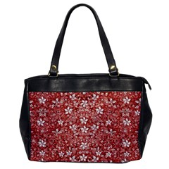 Flowers Pattern Collage In Coral An White Colors Oversize Office Handbag (one Side)