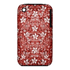 Flowers Pattern Collage In Coral An White Colors Apple Iphone 3g/3gs Hardshell Case (pc+silicone)