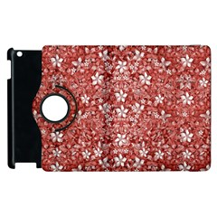 Flowers Pattern Collage In Coral An White Colors Apple Ipad 3/4 Flip 360 Case