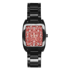 Flowers Pattern Collage In Coral An White Colors Stainless Steel Barrel Watch