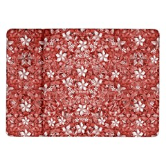 Flowers Pattern Collage in Coral an White Colors Samsung Galaxy Tab 10.1  P7500 Flip Case