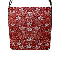 Flowers Pattern Collage In Coral An White Colors Flap Closure Messenger Bag (large)
