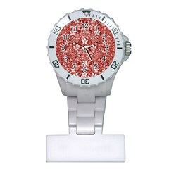 Flowers Pattern Collage In Coral An White Colors Nurses Watch
