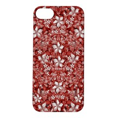 Flowers Pattern Collage in Coral an White Colors Apple iPhone 5S Hardshell Case