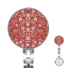 Flowers Pattern Collage in Coral an White Colors Stainless Steel Nurses Watch