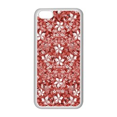 Flowers Pattern Collage in Coral an White Colors Apple iPhone 5C Seamless Case (White)