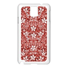 Flowers Pattern Collage In Coral An White Colors Samsung Galaxy Note 3 N9005 Case (white)