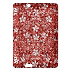 Flowers Pattern Collage in Coral an White Colors Kindle Fire HDX Hardshell Case