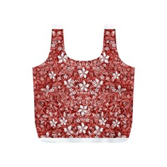 Flowers Pattern Collage in Coral an White Colors Reusable Bag (S)
