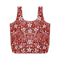 Flowers Pattern Collage In Coral An White Colors Reusable Bag (m)