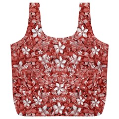Flowers Pattern Collage In Coral An White Colors Reusable Bag (xl)
