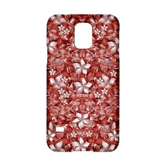 Flowers Pattern Collage in Coral an White Colors Samsung Galaxy S5 Hardshell Case