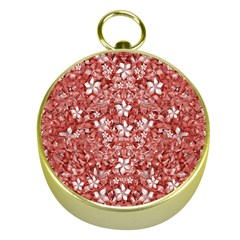 Flowers Pattern Collage in Coral an White Colors Gold Compass