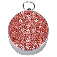 Flowers Pattern Collage in Coral an White Colors Silver Compass