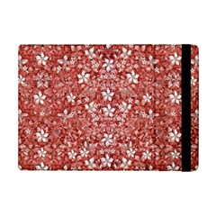 Flowers Pattern Collage in Coral an White Colors Apple iPad Mini 2 Flip Case