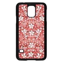 Flowers Pattern Collage in Coral an White Colors Samsung Galaxy S5 Case (Black)