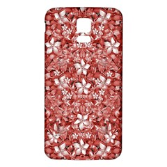 Flowers Pattern Collage in Coral an White Colors Samsung Galaxy S5 Back Case (White)