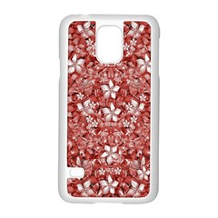 Flowers Pattern Collage in Coral an White Colors Samsung Galaxy S5 Case (White)