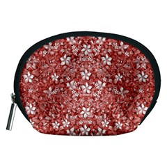 Flowers Pattern Collage In Coral An White Colors Accessory Pouch (medium)