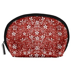 Flowers Pattern Collage in Coral an White Colors Accessory Pouch (Large)