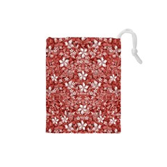 Flowers Pattern Collage In Coral An White Colors Drawstring Pouch (small)