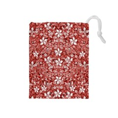 Flowers Pattern Collage in Coral an White Colors Drawstring Pouch (Medium)