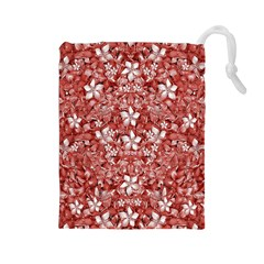 Flowers Pattern Collage In Coral An White Colors Drawstring Pouch (large)
