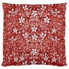 Flowers Pattern Collage In Coral An White Colors Large Flano Cushion Case (two Sides)