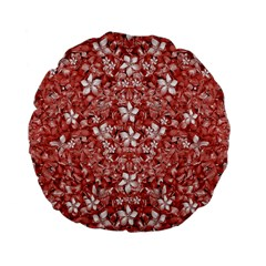 Flowers Pattern Collage In Coral An White Colors 15  Premium Flano Round Cushion