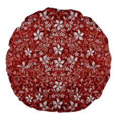 Flowers Pattern Collage in Coral an White Colors 18  Premium Flano Round Cushion