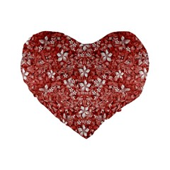 Flowers Pattern Collage in Coral an White Colors 16  Premium Flano Heart Shape Cushion