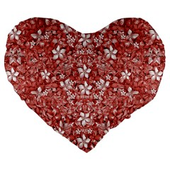 Flowers Pattern Collage In Coral An White Colors 19  Premium Flano Heart Shape Cushion