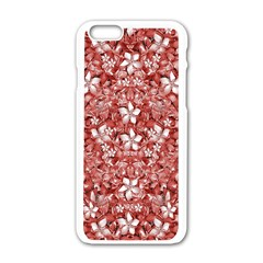 Flowers Pattern Collage In Coral An White Colors Apple Iphone 6 White Enamel Case