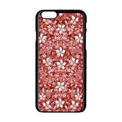 Flowers Pattern Collage in Coral an White Colors Apple iPhone 6 Black Enamel Case