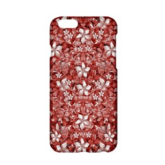 Flowers Pattern Collage in Coral an White Colors Apple iPhone 6 Hardshell Case