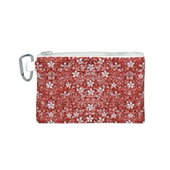 Flowers Pattern Collage in Coral an White Colors Canvas Cosmetic Bag (Small)