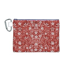 Flowers Pattern Collage in Coral an White Colors Canvas Cosmetic Bag (Medium)