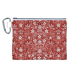 Flowers Pattern Collage in Coral an White Colors Canvas Cosmetic Bag (Large)