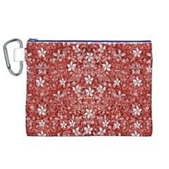 Flowers Pattern Collage in Coral an White Colors Canvas Cosmetic Bag (XL)