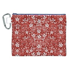 Flowers Pattern Collage in Coral an White Colors Canvas Cosmetic Bag (XXL)