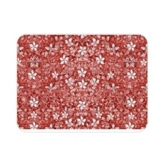 Flowers Pattern Collage in Coral an White Colors Double Sided Flano Blanket (Mini)