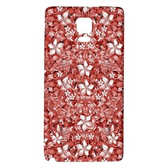 Flowers Pattern Collage in Coral an White Colors Samsung Note 4 Hardshell Back Case