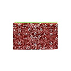 Flowers Pattern Collage In Coral An White Colors Cosmetic Bag (xs)