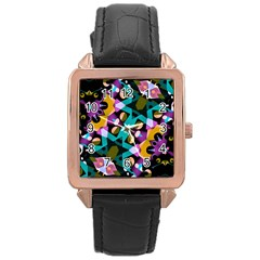 Digital Futuristic Geometric Pattern Rose Gold Leather Watch
