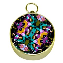 Digital Futuristic Geometric Pattern Gold Compass