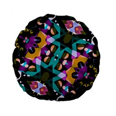 Digital Futuristic Geometric Pattern 15  Premium Flano Round Cushion