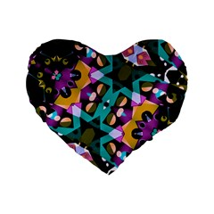 Digital Futuristic Geometric Pattern 16  Premium Flano Heart Shape Cushion